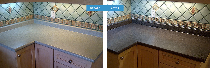 Before and after image of kitchen countertop